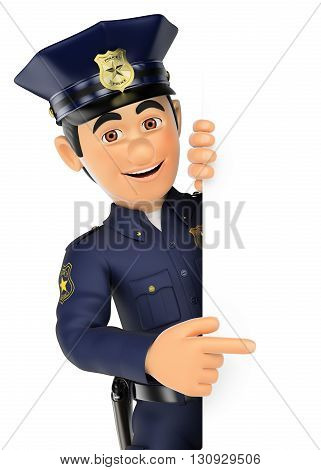 3d security forces people illustration. Policeman pointing aside. Blank space. Isolated white background.