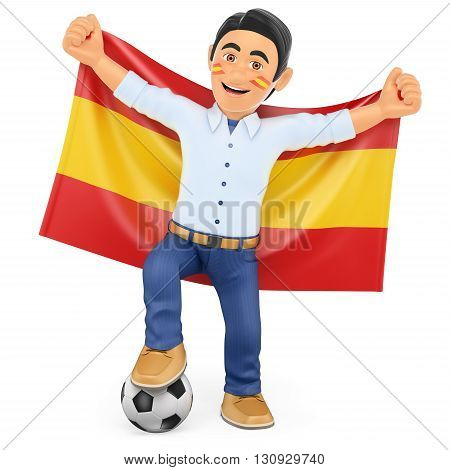 3d sport people illustration. Football fan with the flag of Spain. Isolated white background.