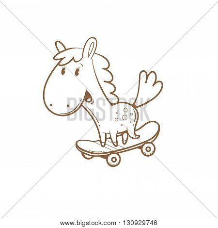 Card with cute cartoon  horse riding on  skateboard. Funny animal. Children's illustration. Vector contour image. Transparent background.