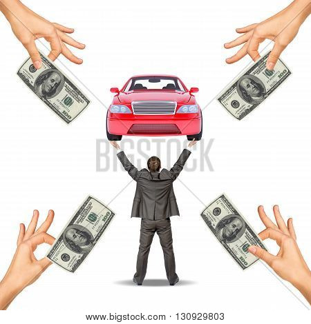 Red car in mens hands and hands offering cash on white background