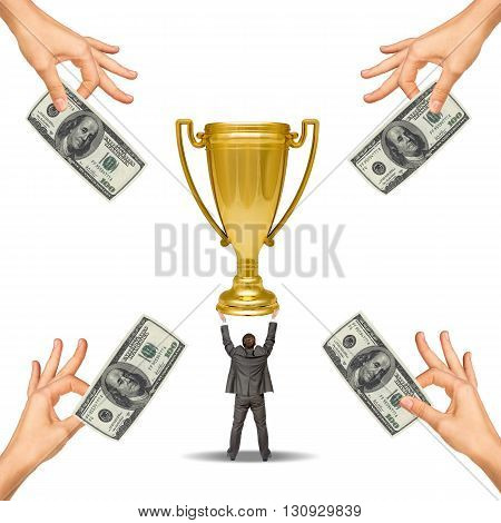 Businessman holding sport cup and hands offering money isolated on white background