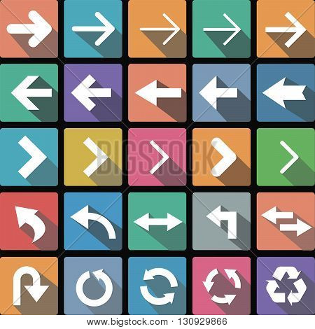 Vector illustration flat icons collection of arrows