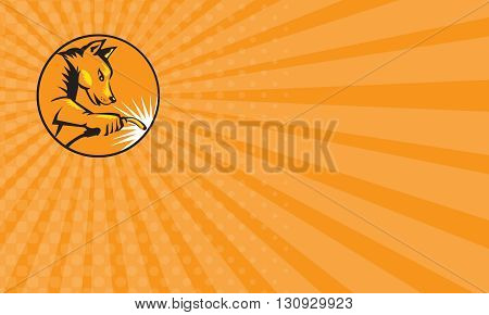 Business card showing illustration of a dingo dog welder with welding stick welding viewed from the side set inside circle done in retro style.