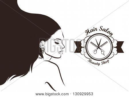 Hair Salon design. haircut or hair salon with woman. Vector EPS