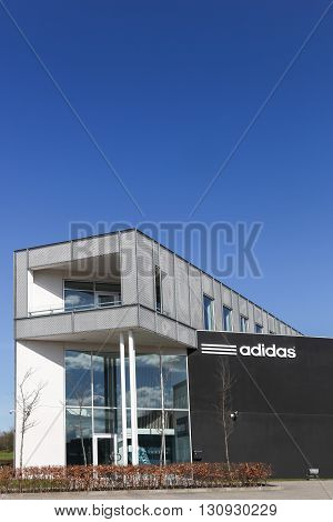 Aarhus, Denmark - May 1, 2016: Adidas office building. Adidas is a German multinational that manufactures sports shoes, clothing. It is the second biggest sportswear manufacturer in the world