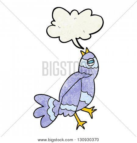 freehand textured cartoon bird singing
