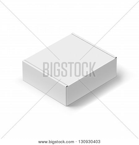Close up Carton Box with the Realistic Shadow on White