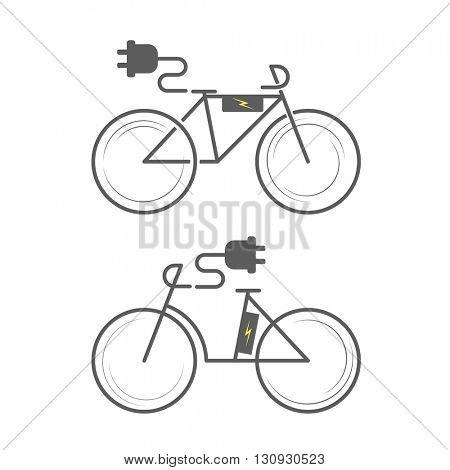 E-bike icon on white background. Electro bicycle. bike icon set. Bicycle flat icon, electric bicycle icon vector, electric bike logo. Vector illustration