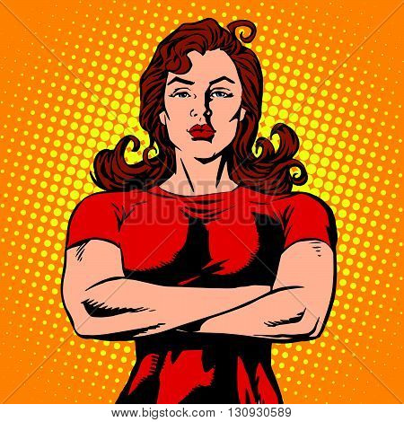 Strong female bodyguard athlete pop art retro vector. Strong girl. A female security guard. The power of women. Feminism