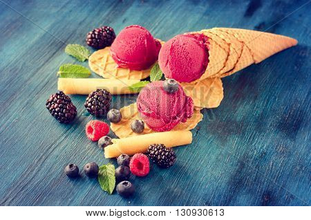 Red ice cream with berries sorbet healthy dessert summer food vegan dessert