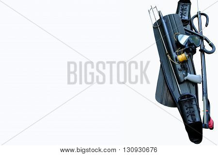 Equipment for spearfishing on a white background