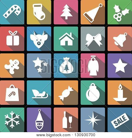 Vector illustration flat icons collection of сhristmas