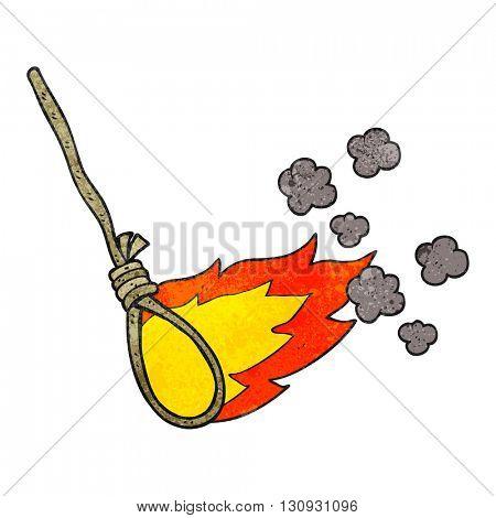 freehand textured cartoon hangman's noose on fire