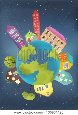 Earth planet with houses and trees on starry sky background. Vector illustration of a cartoon design earth planet globe with environment elements.