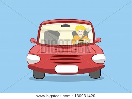 vector illustration of a young happy man driving red car. eps 10