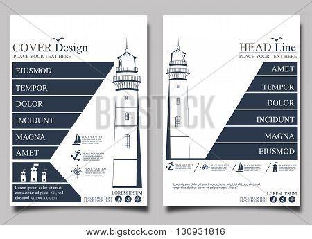Lighthouse.Flyer design template vector. Leaflet cover presentation background.