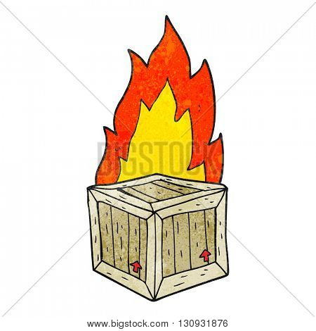 freehand textured cartoon burning crate