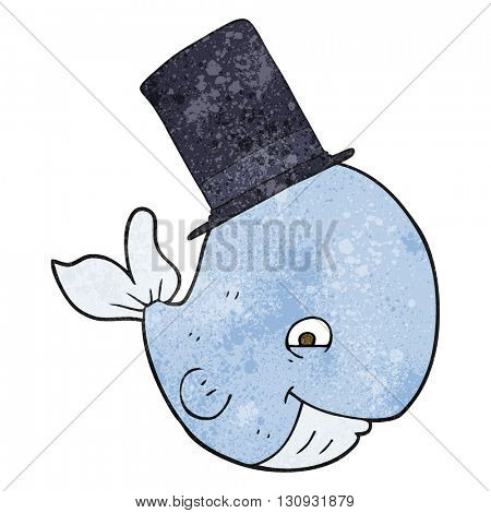 freehand textured cartoon whale in top hat
