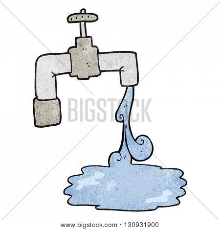freehand textured cartoon running faucet