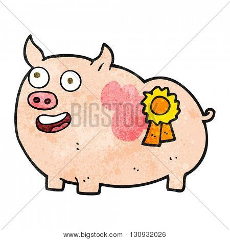 freehand textured cartoon prize winning pig