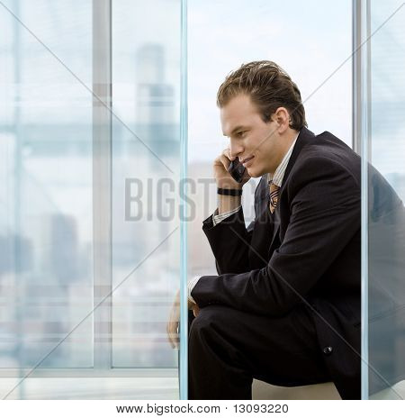 Profile portrait of businessman talking on mobile phone in front of office windows, smiling.