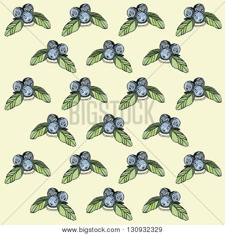 Hand drawn abstract blueberry pattern.Can be used like post card, background or banner