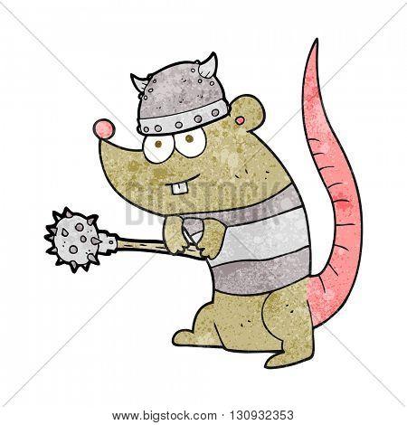 freehand textured cartoon rat warrior