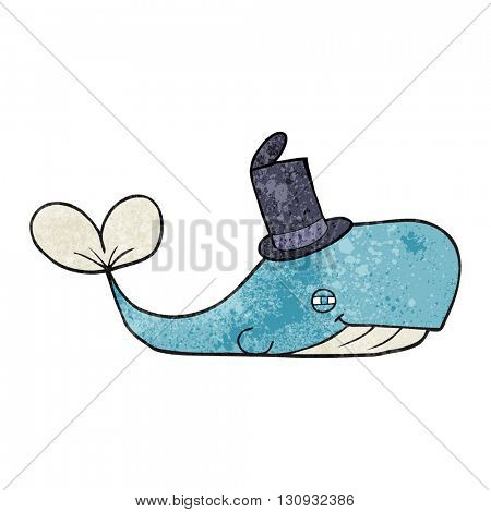 freehand textured cartoon whale wearing hat