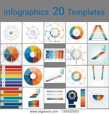 Infographics 20 Templates.Text area on seven position. Can be used for workflow process business banner diagram number options work plan web design.