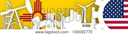 Energy and Power icons set. Header banner with New Mexico and USA flags. Sustainable energy generation and heavy industry. 3D rendering