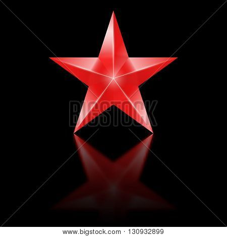 Red star of five points on black background.
