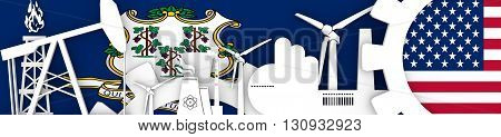 Energy and Power icons set. Header banner with Connecticut and USA flags. Sustainable energy generation and heavy industry. 3D rendering