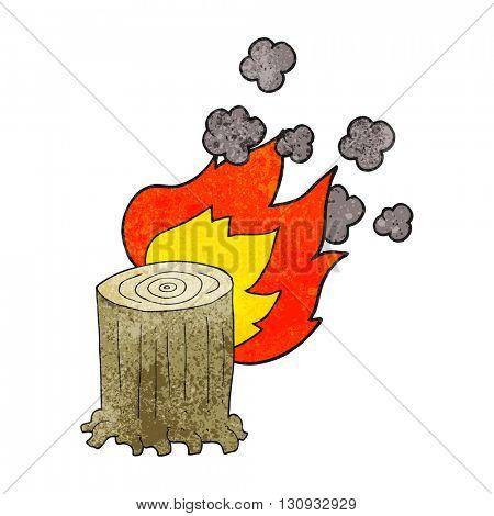 freehand textured cartoon tree stump on fire