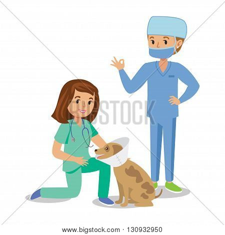 Two girls healing dog. Vet girls pet doctors. Cute cartoon girls with dog. Cartoon veterinarians healing dog. Vector illustration