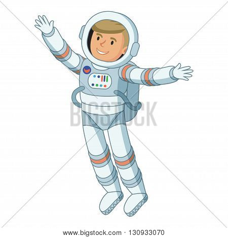 Funny astronaut in outer space astronaut floating in space cosmic scene on white background. Vector illustration