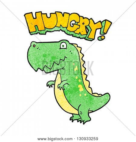freehand textured cartoon hungry dinosaur