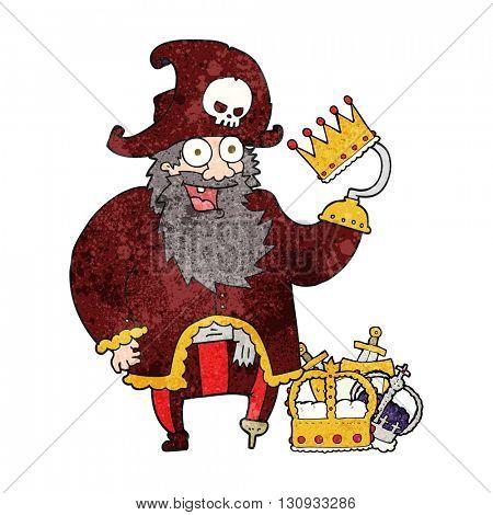 freehand textured cartoon pirate captain