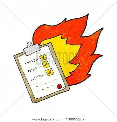 freehand textured cartoon checklist burning