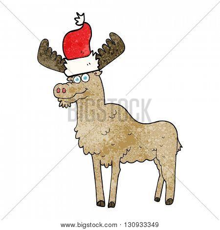 freehand textured cartoon christmas moose