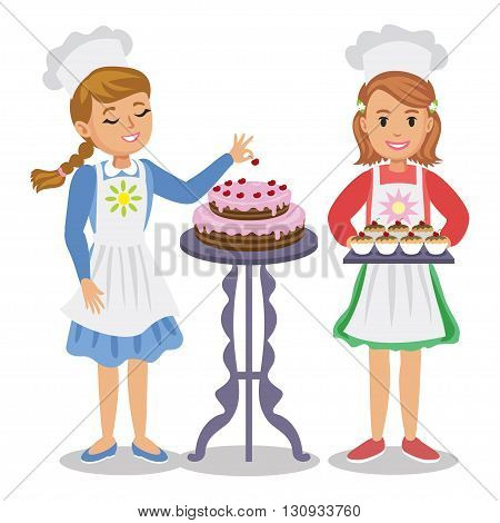 Two cute cartoon girl with pastry. Girl decorates a cake with cherries. Girl holding cupcakes. Vector illustration