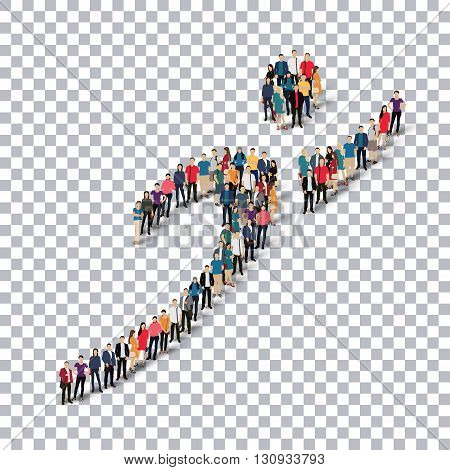 Isometric set of styles, man, symbol , web infographics concept illustration of a crowded square, flat 3d. Crowd point group forming a predetermined shape. Creative people.Transparency grid.3D illustration.