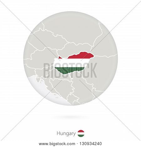 Map Of Hungary And National Flag In A Circle.
