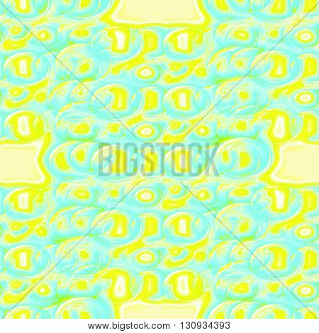 Abstract geometric seamless background. Delicate regular ellipses pattern in bright yellow and light blue.