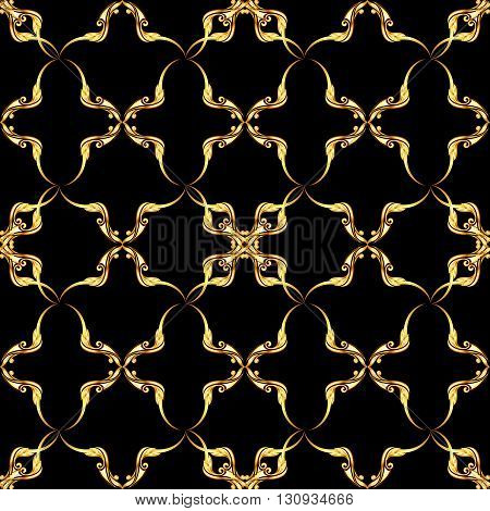 Seamless gold floral pattern on the black background