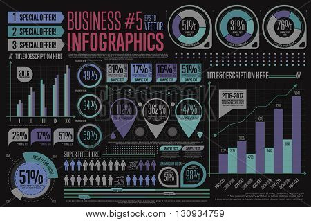 Business infographic elements. Charts, tables, graphs template. Data, diagram and rating layout. Vector illustration.
