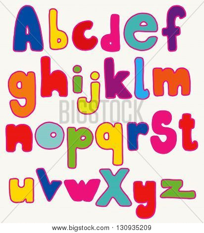 Full set of hand drawn colorful fat cartoon letters isolated over white.