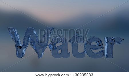 3D rendering Water text with liquid texture