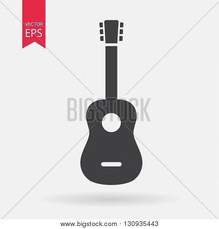 Guitar Icon Vector. Guitar sign isolated on white background. Guitar silhouette. Vector Flat design