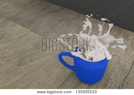 3d rendering of a cup of milk spill on a table