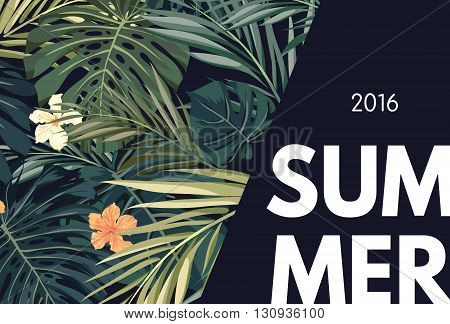 Summer tropical hawaiian sale background with palm tree leaves and exotic flowers, space for text, vector illustration.